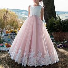 Kids Bridesmaid Dresses Flower Girls Wedding Party Dress Embroidery Tulle Ball Gown Trailing Long Princess Dress for Photo Shoot pageant blue kids girls princess embroidery flower party bridesmaid gown dress