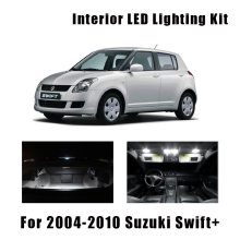 Kit de luz interior automotivo, 8 lâmpadas, super brancas, led, para 2004-2007, 2008, 2009, suzuki, swift + dome lâmpada do porta-malas de carga