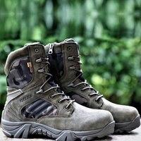 Homens deserto tático militar botas homens trabalho safty sapatos força especial à prova dspecial água bota do exército laço acima de combate tornozelo botas tamanho grande