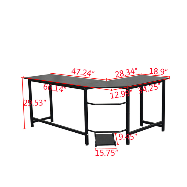 L-Shaped Desktop Computer Desk Study Table Office Table Easy to Assemble Can Be Used in home and office Black 6