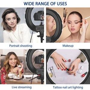 Image 5 - Capsaver 14 cali lampa pierścieniowa lampa pierścieniowa led Makeup Light Selfie lampa pierścieniowa z stojak z uchwytem na telefon do Youtube zdjęcie wideo