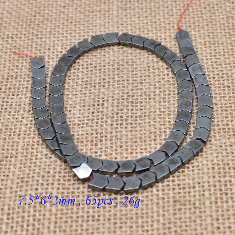 Купить с кэшбэком Natural Stone Special-shaped Square Black Hematite beads Flat Round Loose beads For Necklace Bracelet Women Men Jewelry DIY