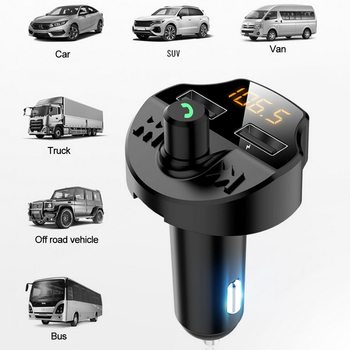 Car Fm Transmitter Bluetooth 5.0 Car Mp3 Adapter Dual USB Bluetooth Wireless Auto Handfree FM Transmitter Car Charger MP3 Music image