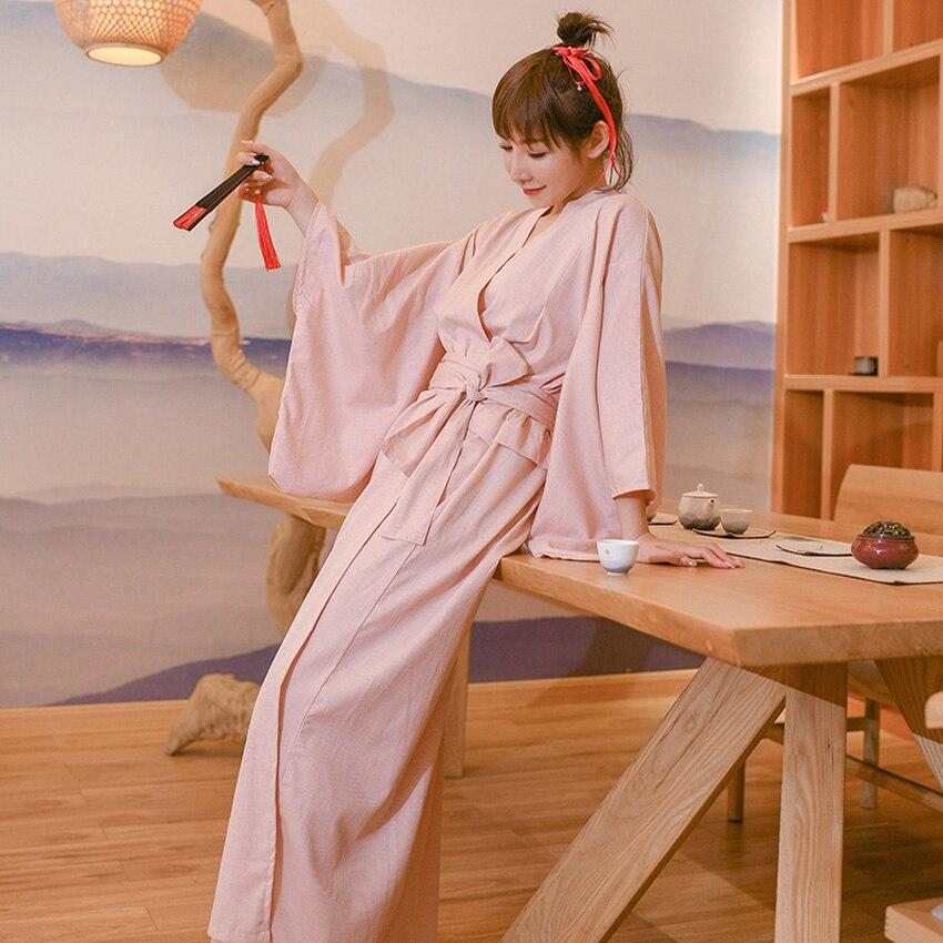 Oriental Japanese Traditional Kimono Dress for Woman Solid Cotton Loose Bathing Robe Yukata Ethnic Sleepwear New Year Costume