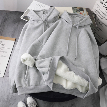 Ailegogo New Winter Women Fashion Solid Hooded Sweatshirts Autumn Long Sleeve Pullovers Oversize Woollen Liner Warm Loose Tops 2