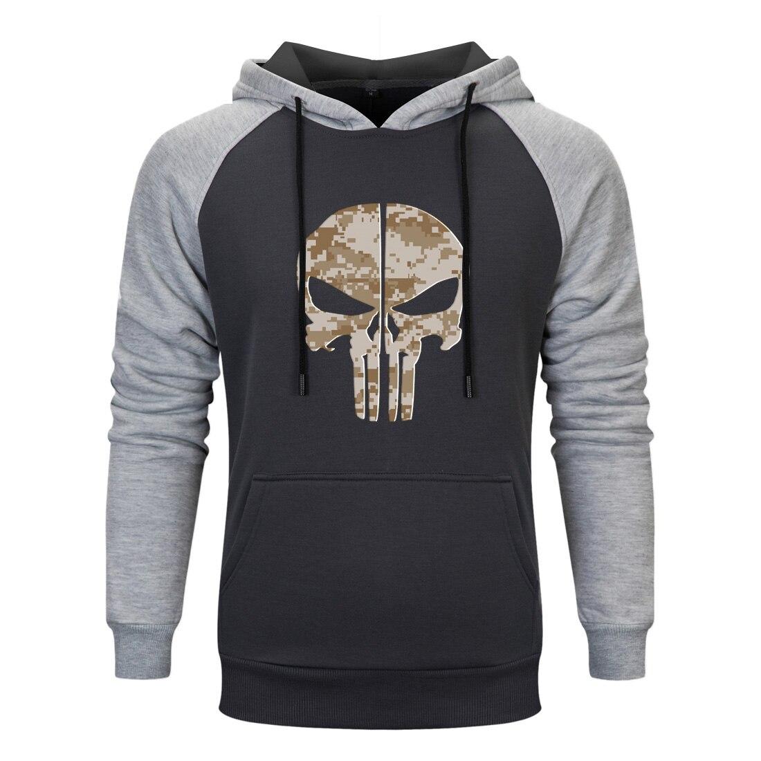 Funny Printed Hooded Poodies Horror Skull Spring Autumn Men Sweatshirt Raglan Streetwear Hooded Funny Sportswear Hoodies Clothes