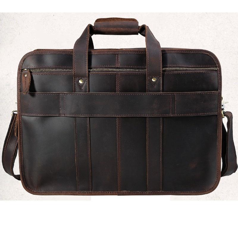 Genuine Leather Men's Messenger 13/14 Laptop Business Briefcase Shoulder Handbag Male Travel Bag Large Tote Crossbody in brown