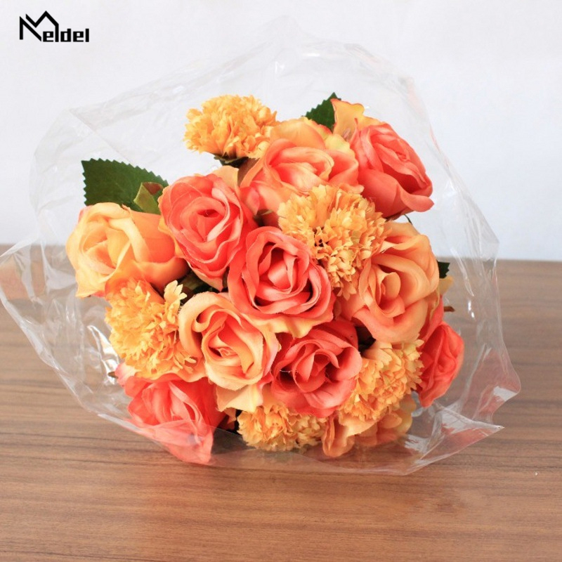 Meldel Wedding Bouquet For Bridesmaids Bridal Bouquets Artificial Flowers Silk Roses Carnations DIY Mariage Supplies Home Decor