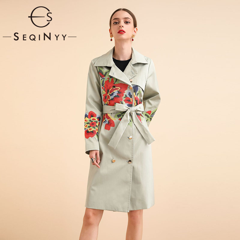 SEQINYY Long Trench Coat 2020 Spring Autumn New Fashion Design ...