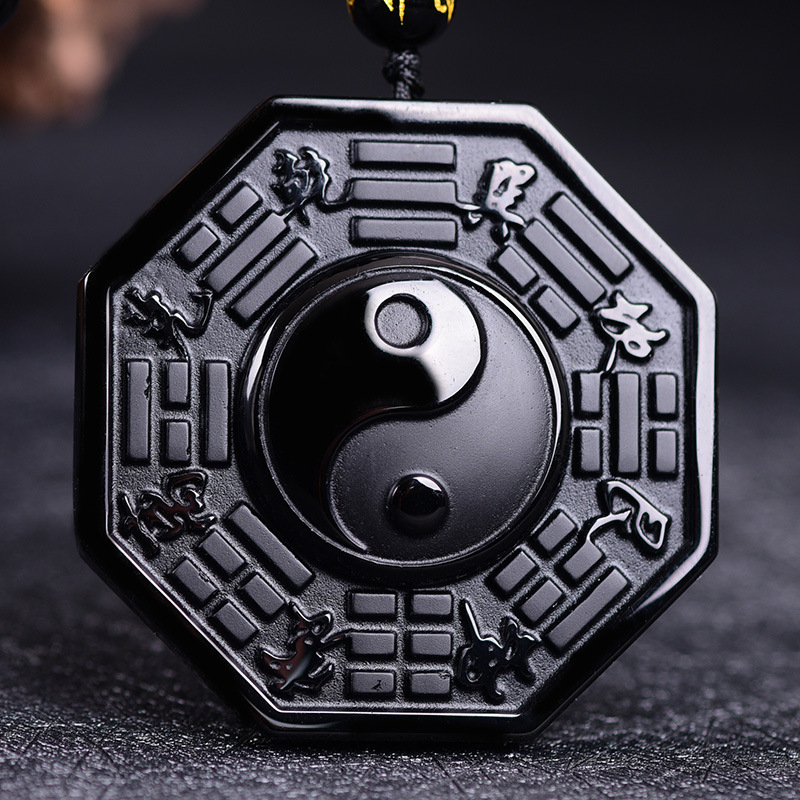 Fashion Black Obsidian Carving Pendant Trendy Jewellery Yin Yang Wolf Dragon Necklace Lucky Charms Angel Pendants Jewelry Boho