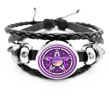 initial / Glamour Purple Triple Moon Goddess Pentagram Snap Button Bracelet Witchcraft Supernatural Black Bracelet Jewelry triple moon