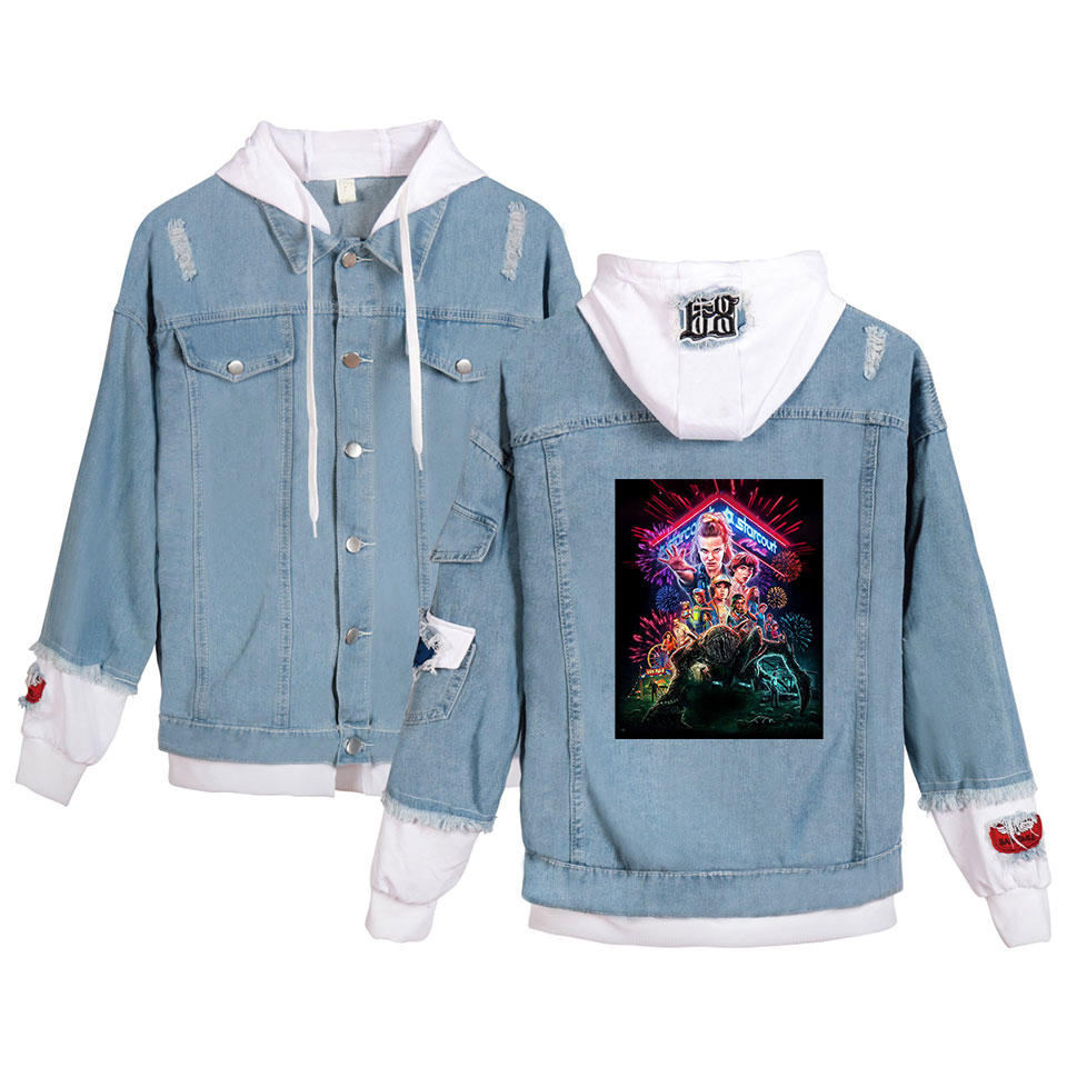 Image 4 - Preferential High Quality Stranger things Hoodies Denim jacket Men/Women sweatshirt Stranger things Boy/Girl Pullovers-in Hoodies & Sweatshirts from Men's Clothing