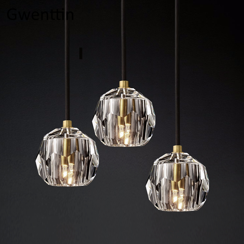 Modern Luxury K9 Crystal Pendant Lights Led Nordic Gold Hanging Lamp For Living Room Kitchen Light Fixtures Luminaire Home Decor