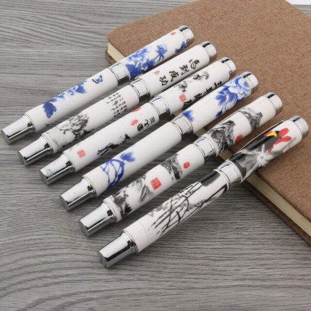 1PC fashion color M Nib ceramics Blue and white Fountain Pen 1