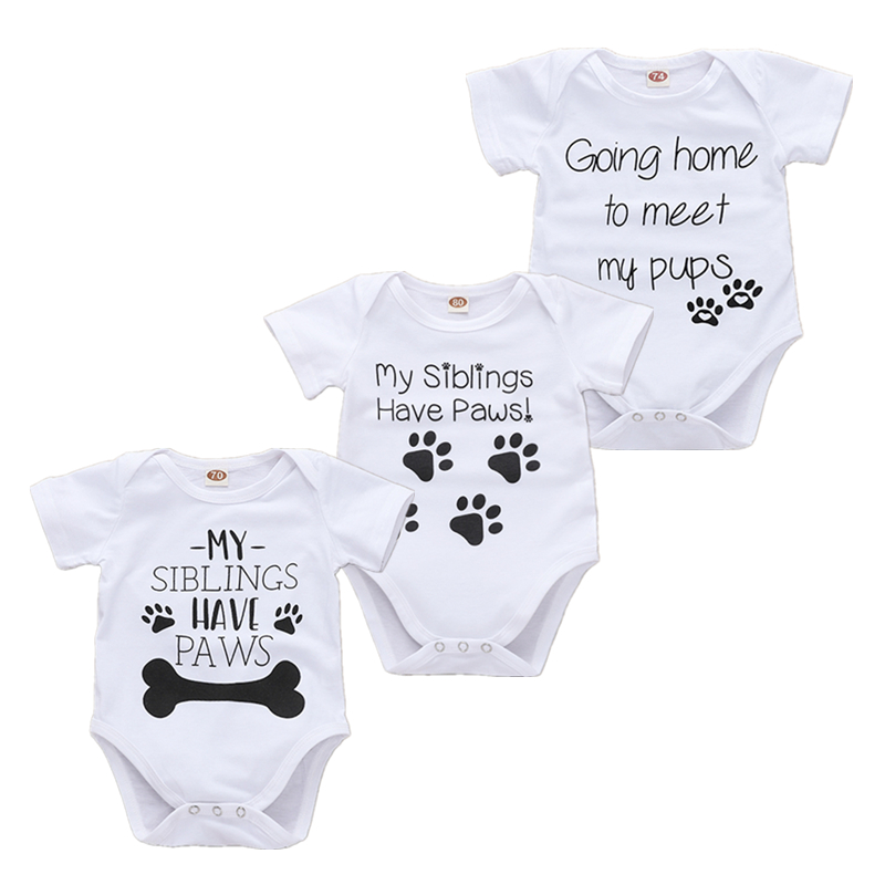 Newborn Onesie Summer Short Sleeve White Bodysuits My Siblings Have Paws Best Friends Tiny Cottons Baby Boy Girl Clothes image