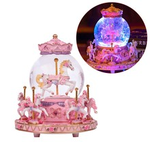 Carousel Music Box Luxury Color Change LED Light Luminous Rotating 6-Horse Carousel Horse Music Box Home Decor Ornament Best Bir(China)