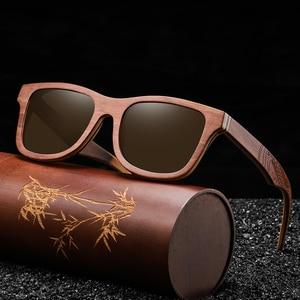 Image 5 - EZREAL Retro Brown Skateboard Wood Sunglasses Men Bamboo Sunglass Women Brand Mirror UV400 Square Sun Glasses Shades Glasses