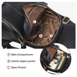 Image 5 - FOXER Cowhide Genuine Leather Girls School Bag Korean Simple Black Women Backpack Large Capacity Lady Casual Travel Rucksacks