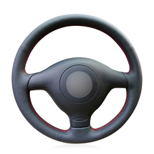 цена на Hand-stitched Black Artificial Leather Car Steering Wheel Cover for Volkswagen VW Golf 4 1998-2004 Passat B5 1996-2005 Polo Seat