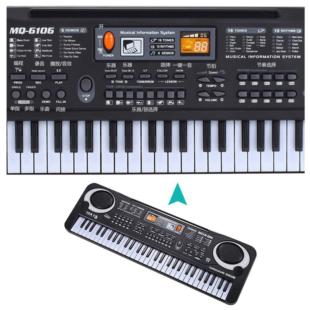 61 Keys Electronic Music Keyboard Electric Organ With Microphone Children Musical Instrument Early Educational Tool For Kids Hot