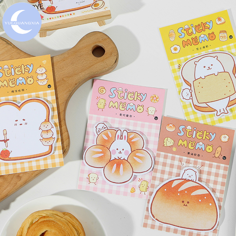 YueGuangXia 30 Pcs Rubbit Seal Bread List Sticky Notes Notepad Kawaii Stationery Self-Adhesive Memo Pads Office School Supplies