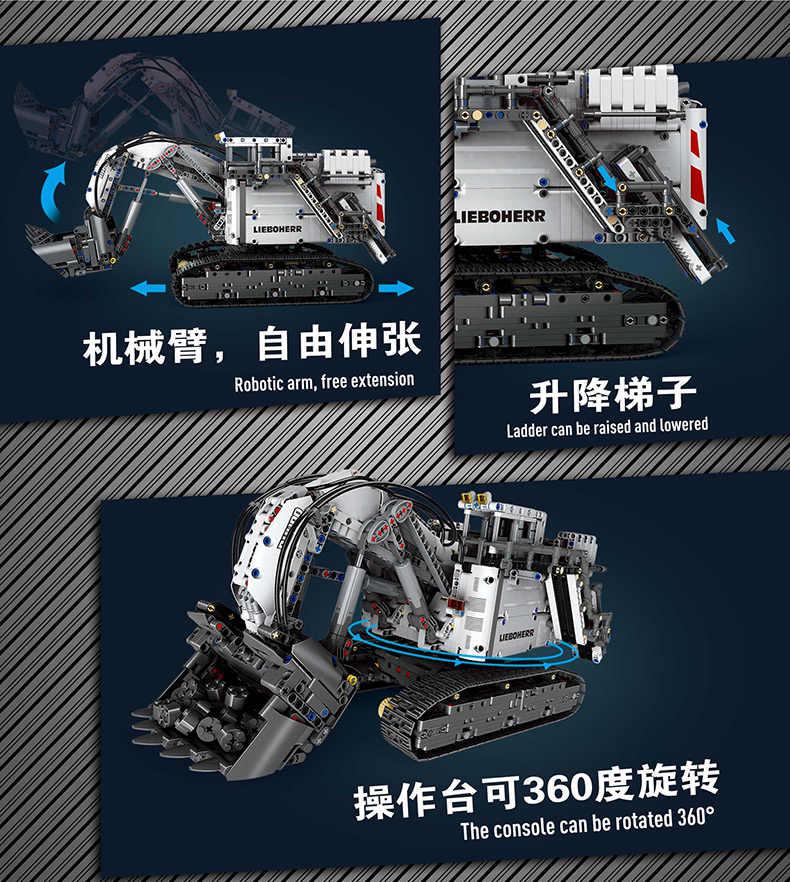 Technic Serie liebherrs Bagger R 9800 Modell Bausteine Ziegel Motor Power MOC-1874 kompatibel lepining 42100 Kinder Spielzeug