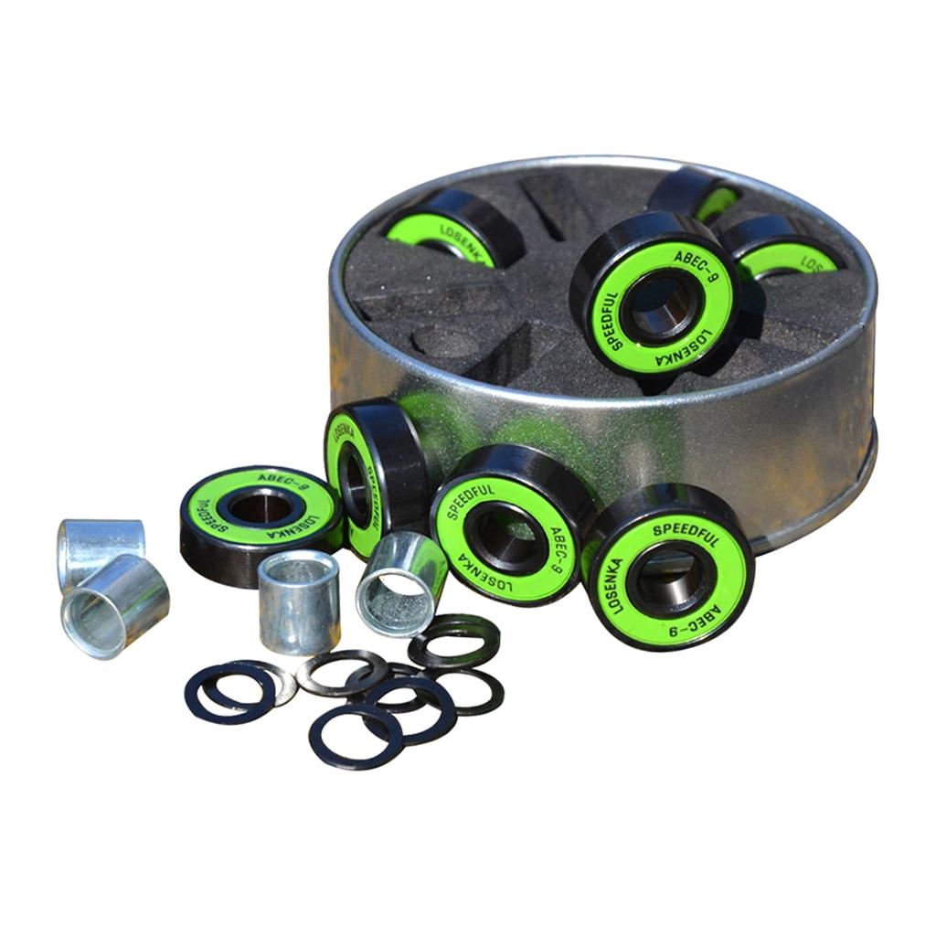1 Set ABEC-9 Green High Speed Steel Skateboard Wheel Bearings Set Kit 2.2x0.7cm Premium Longboard Replacement Parts Accessories