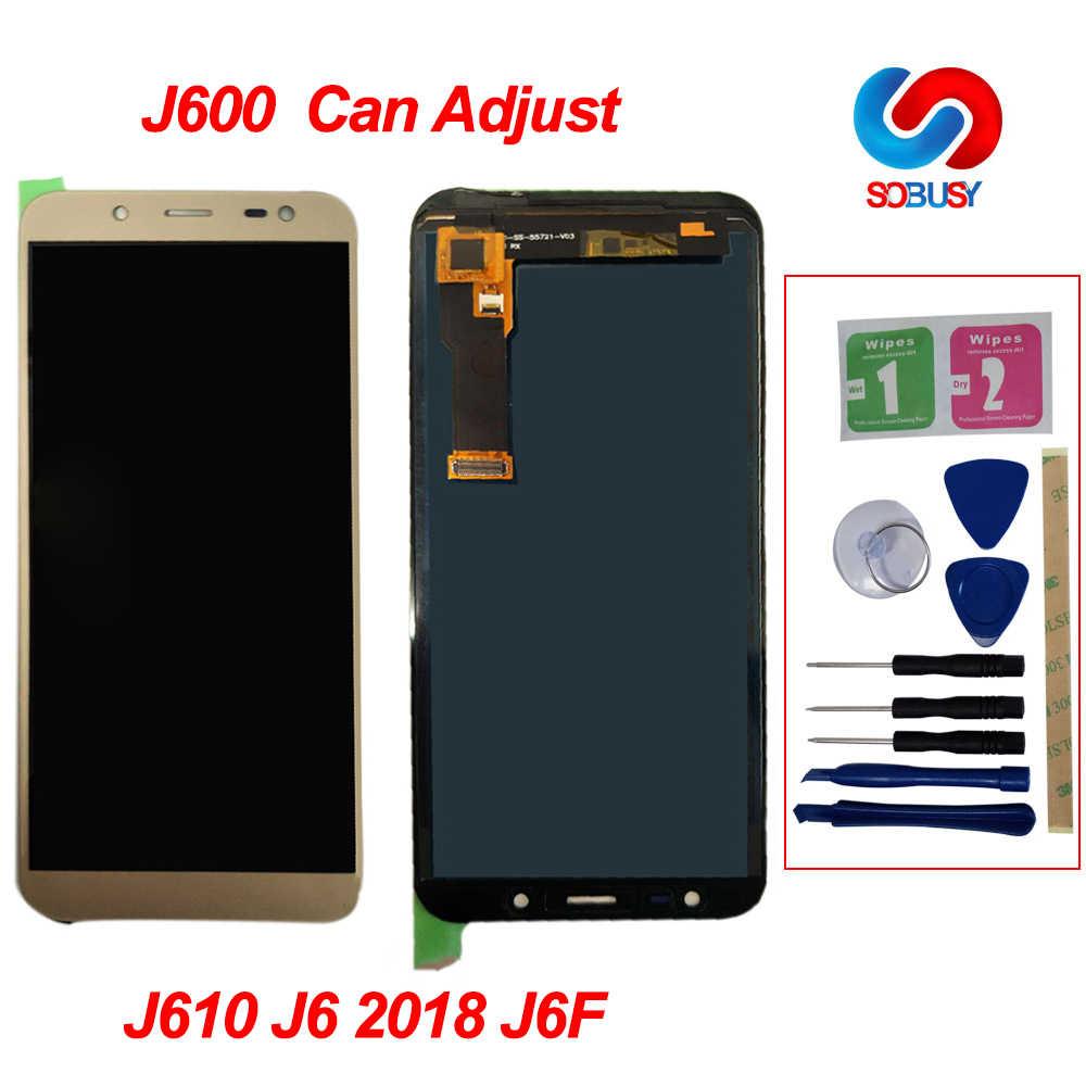 J600 LCD de brillo ajustable para Samsung Galaxy J6 2018 J600 J600F J600Y LCD pantalla MONTAJE DE digitalizador con pantalla táctil partes