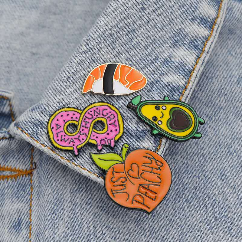 New Japanese ramen sushi love peach smile avocado cartoon brooch cute food accessories fashion enamel lapel denim coat badge