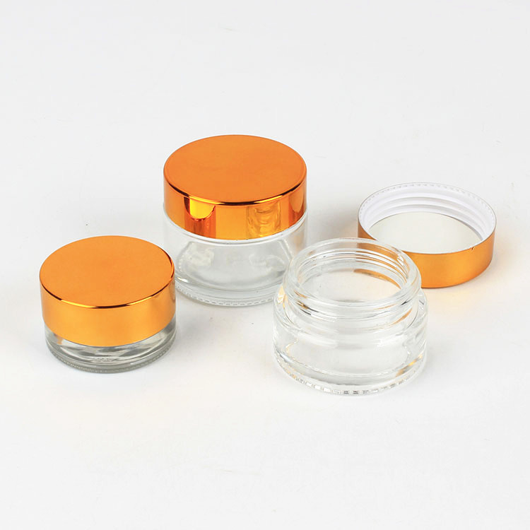 Image 3 - 10pcs x 5g 10g 15g 20g 30g 50g Amber Clear Glass Jar Container Cosmetic Cream Lotion Powder Frosted Matte Pot Travel BottleRefillable Bottles   -