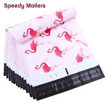Speedy Mailers-bolsas de plástico con sellado automático, 100 Uds., 260x330mm, 10x1, 3/pulgadas, patrón de flamenco rosa