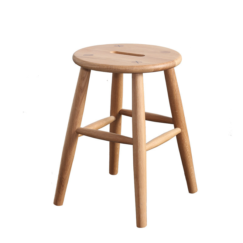 Solid wood oak stool, dressing stool, solid wood low stool, round stool, household dining stool, small family dining chair