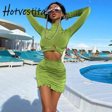 Hotvestita 2021 2 Piece Set Sexy Hollow Out Long Sleeve Crop Top Ruched Bodycon Mini Skirts Spring Autumn Women Club Outfits