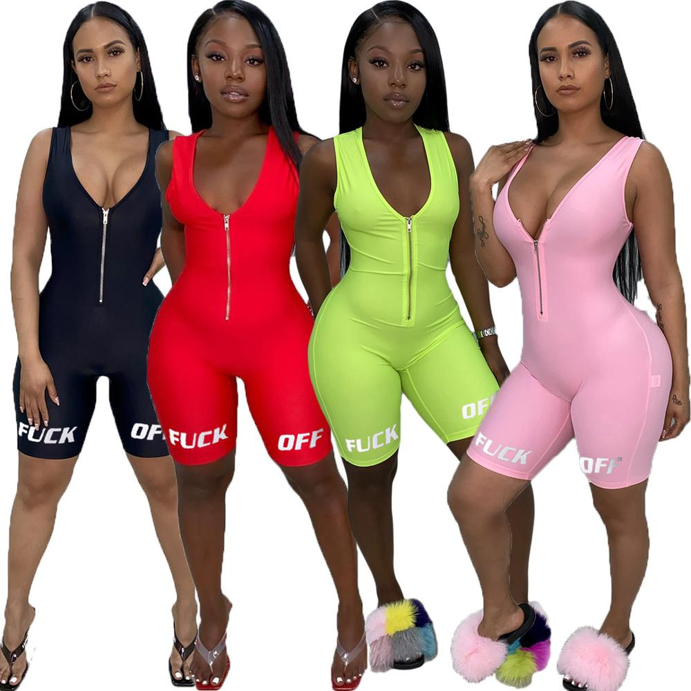 2020 New Summmer Women's Sexy Letter Print Bodysuits Casual Sleeveless Playsuit Athleisure Neon Color Rompers  Zipper Jumpsuits