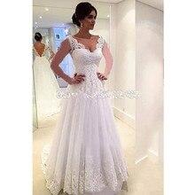 Vestido De Noiva Renda Wedding Dresses 2019 Backless Appliques Lace Bride Dress Plus Size Simple Gowns Robe Mariee