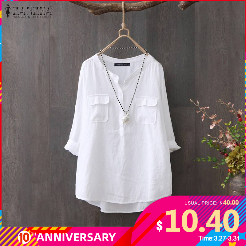 ZANZEA 2020 Vintage Work OL Shirt Women Tops And Blouses Office Lady Casual Solid O Neck Blusas Long Sleeve Cotton Tunic Chemise