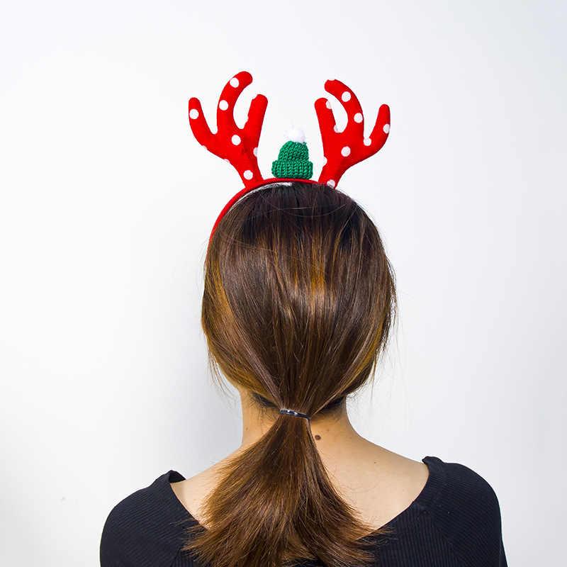 1 Uds. Diadema de Navidad para niños adultos orejas de ciervo Navidad fiesta de Navidad ofertas Santa Navidad banda cierre de la cabeza