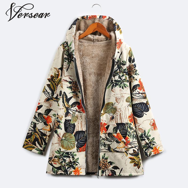 Versear 2019 Winter Women Warm Faux Fur Hooded   Parka   Coat Casual Floral Print Pockets Vintage Long Windbreaker Outwear Plus Size