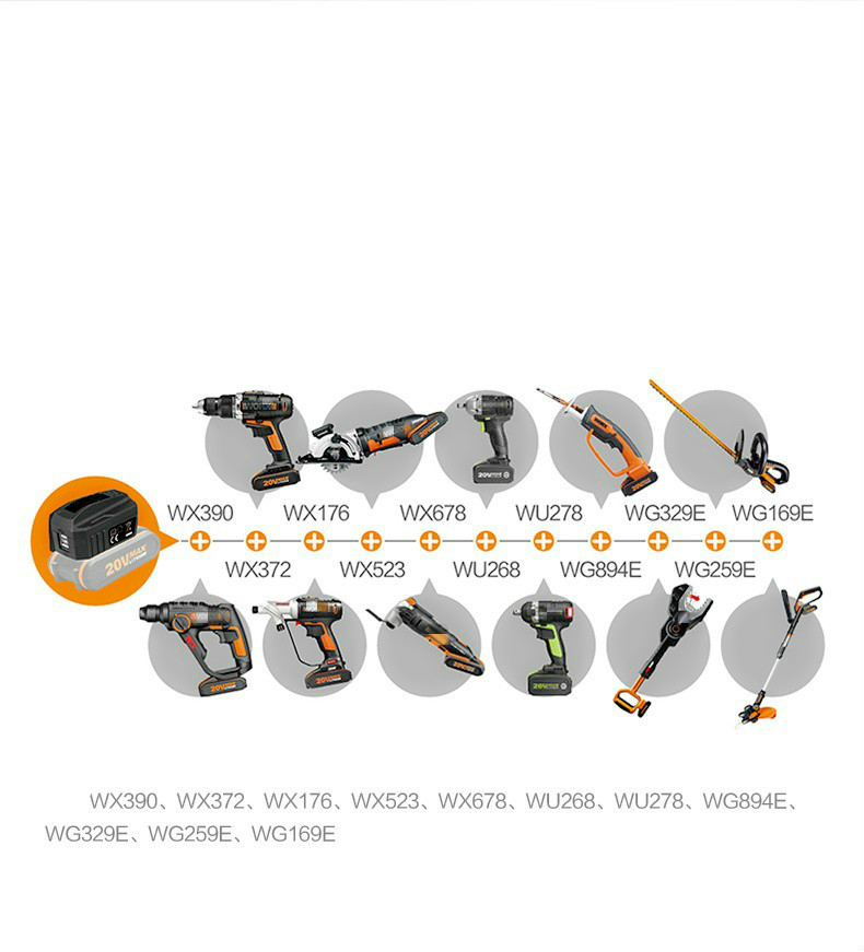 Best WORX 20V usb charger bank connector of 20V battery WA4009 FIT all the worx 20V battery as the pic show image