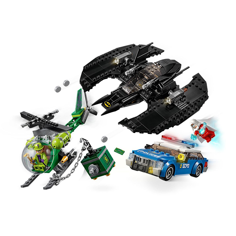 New Super Hero Batman Batwing And The Riddler Heist Model Building Blocks DIY Assemble Toys With Legoinglys Juguetes 76120