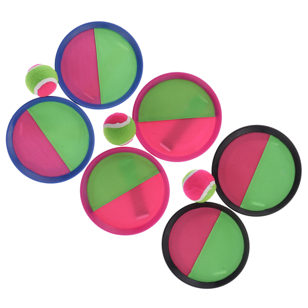 Set Of 3 Self-stick Racket & Balls For Grip Catch Ball Game Hand-eye Coordination, Good Educational Toys For Kids