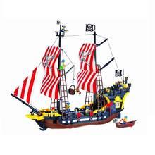 Bloco de construção grande navio pirata barco rainha anne vingança imperial flagship caribe mar tijolos educativos brinquedo presente do menino