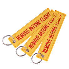 Remove Before Flight Portachiavi Arancione Chaveiro Keychain Del Ricamo Anello per Aviazione Regali Dei Monili Chiave Fob Portachiavi 3 Pz/lotto(China)