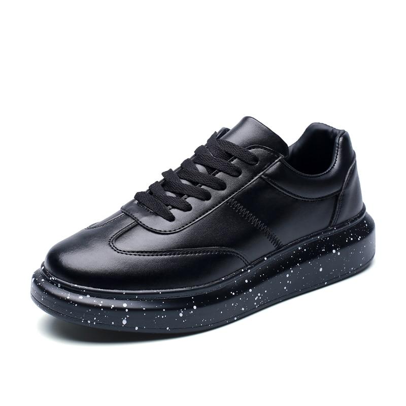 Image 2 - Мужские кроссовки; белая обувь; мужские теннисные кроссовки; мужские зимние кроссовки для отдыха; кожаная обувь на плоской подошве; мужские зимние кроссовки на толстой подошве-in Мужская повседневная обувь from Обувь