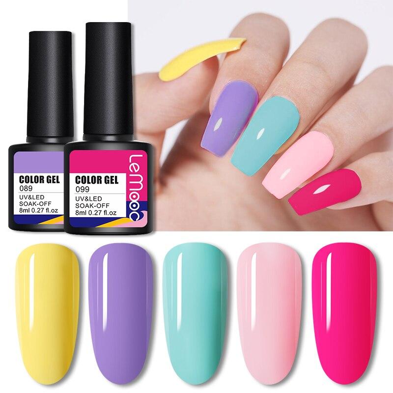 Гель-лак для ногтей LEMOOC Neno ярких цветов, отмачиваемый полуперманентный лак для ногтей, лаки для базового и топового покрытия, лаки для ногте...