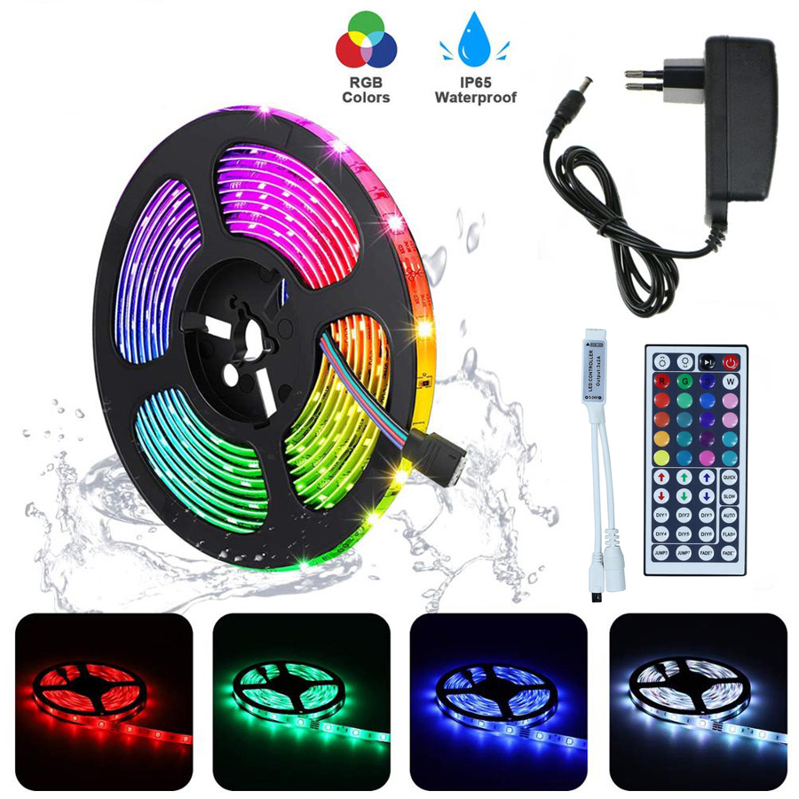 RGB LED Strip Light SMD2835 5050 5M 10M Waterproof RGB Tape DC12V Ribbon diode led lights Strip Lamp with IR Remote Controller(China)
