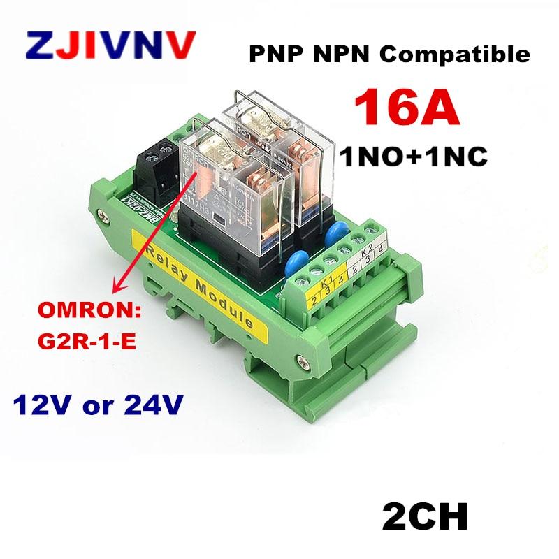 12V DC Relay DIN Rail Mount 2 SPDT 16A Power Relay Interface Module G2R-1-E