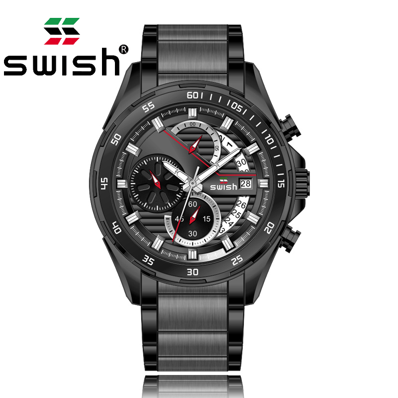 SWISH 2020 Male Fashion Business Men's Watches Top Luxury Brand Stainless Steel Watch For Men Quartz Clock  For Men