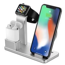 AZiMiYO Draadloze Oplader Voor iPhone X XS MAX XR 8 Snelle vollast 3 in 1 metalen Opladen Beugel voor airpods Apple Horloge 4 3 2