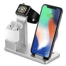 AZiMiYO Kablosuz iphone şarj cihazı X XS MAX XR 8 Hızlı Tam yük 3 in 1 metal için Şarj Braketi Airpods Apple izle 4 3 2